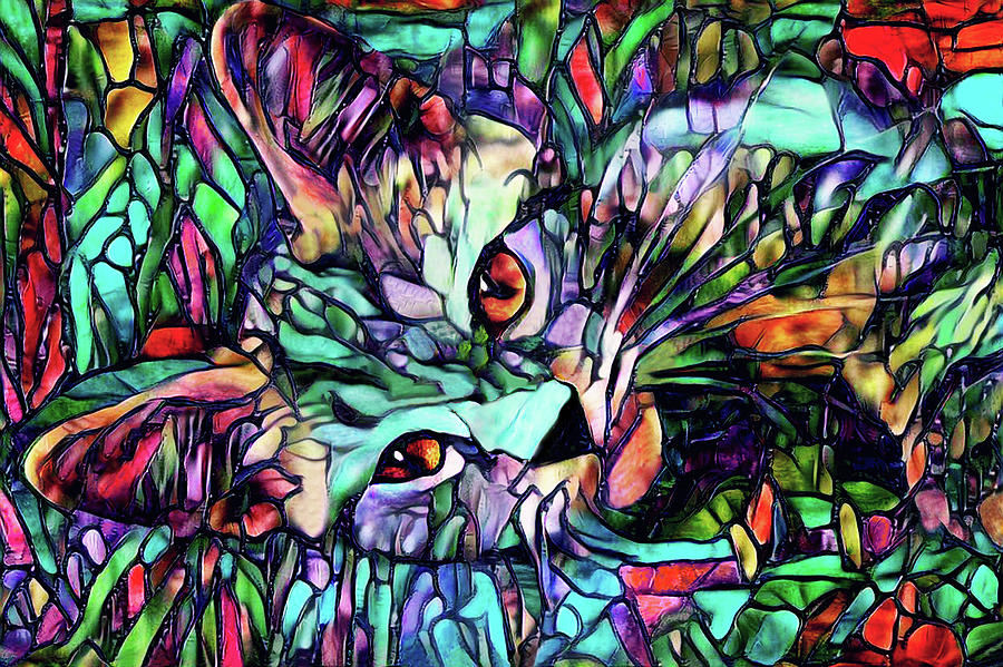 Cat Digital Art - Sparky the Stained Glass Kitten by Peggy Collins