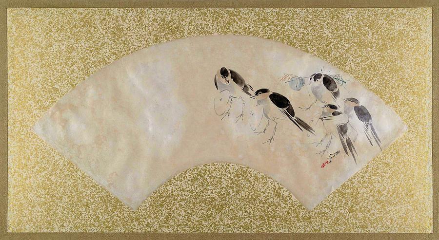 Shibata Zeshin Painting - Sparrows - Digital Remastered Edition by Shibata Zeshin