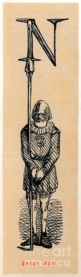 Spear Man Drawing by Print Collector