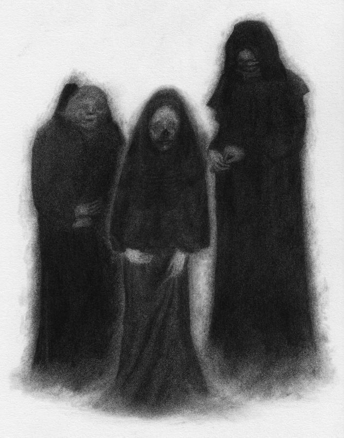 Horror Drawing - Specters Of The Darkness Beneath - Artwork by Ryan Nieves