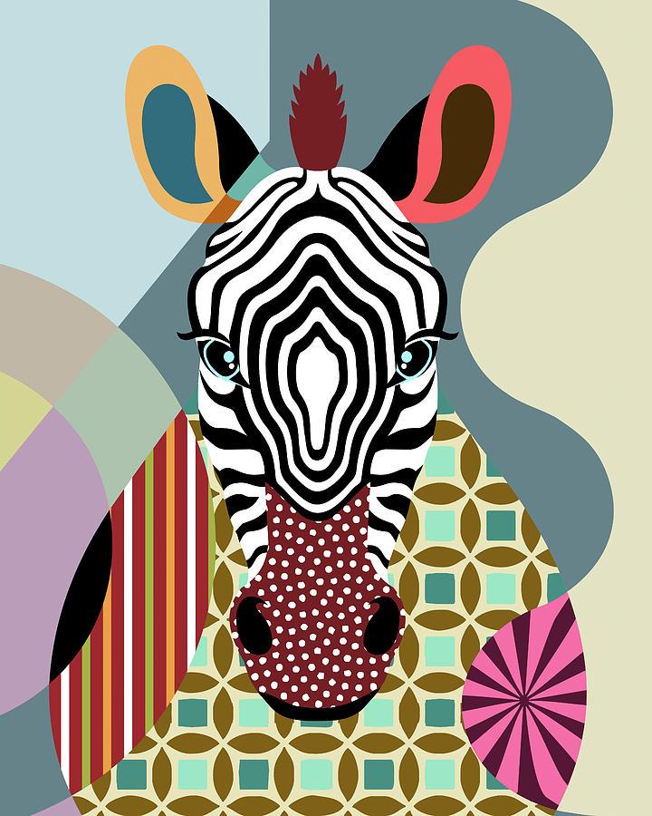 Zebra Digital Art - Spectrum Zebra by Lanre Adefioye