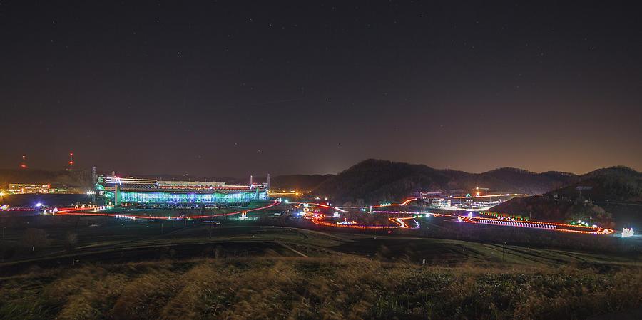 Bristol Motor Speedway Photograph - Speedway In Lights At Bristol Motor Speedway 2018 by Greg Booher