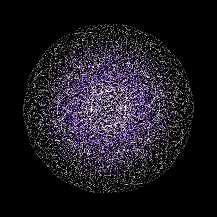 Spherical Purple Mandala by Nathalie DAOUT