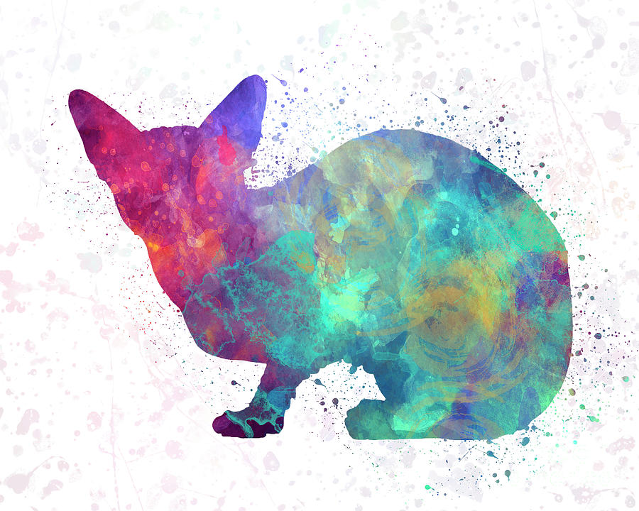 Sphinx cat in watercolor by Pablo Romero