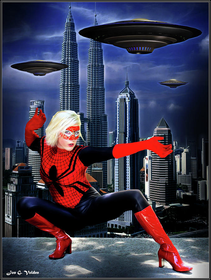 Spider Woman vs Alien Invasion by Jon Volden