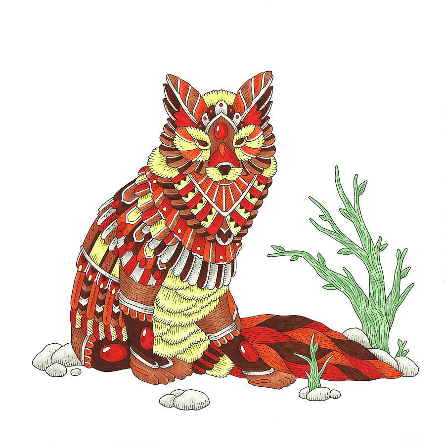 Animals Digital Art - Spirit Animals Fox Color by Filippo Cardu