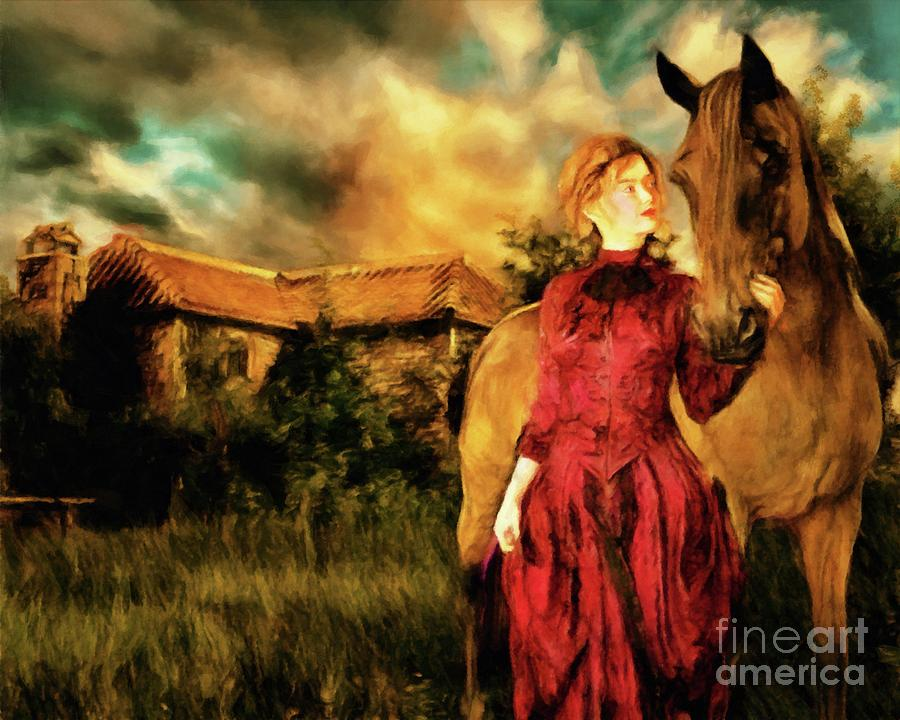 SPIRITED Vintage Victorian Era Woman With Horse by Ben Hoole