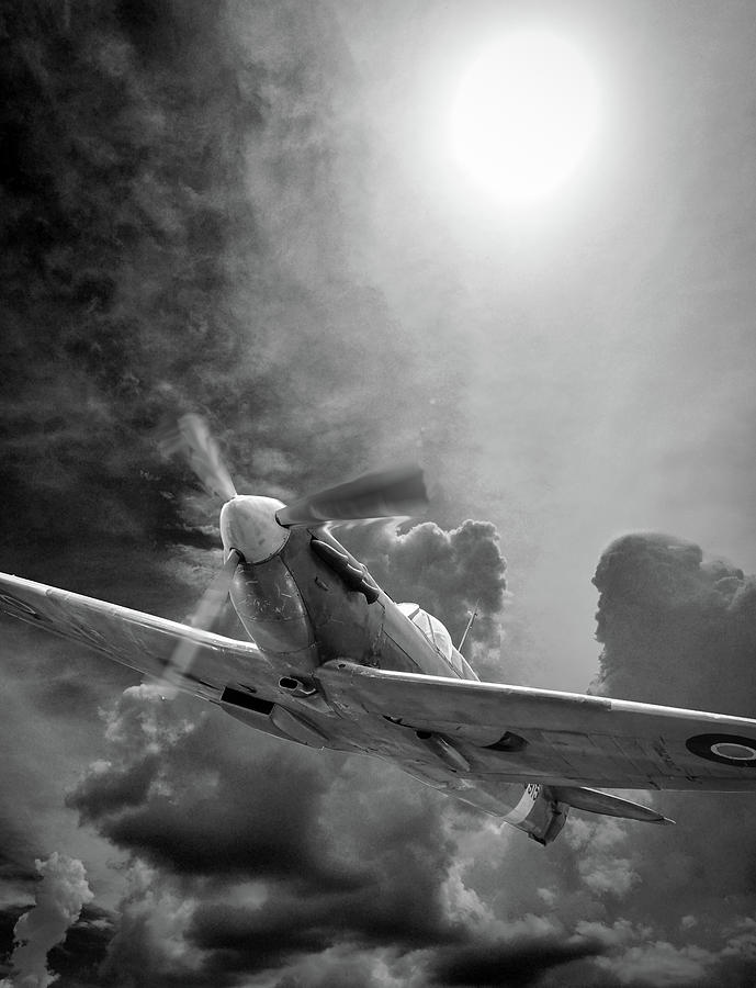 Spitfire in the Sun Black and White by Philip Rispin