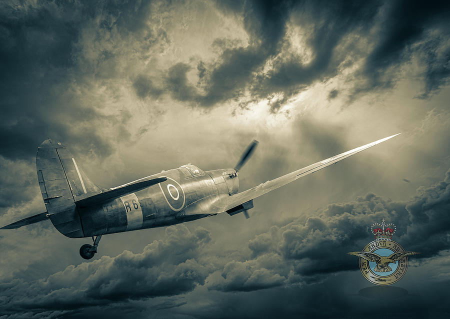 Spitfire into the Storm Sepia by Philip Rispin