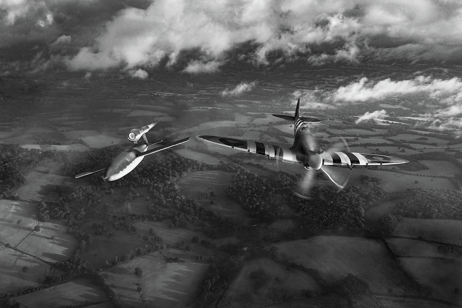 Spitfire tipping V1 flying bomb BW version by Gary Eason