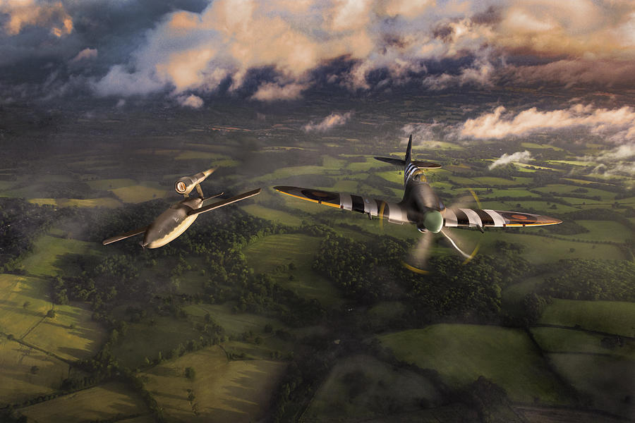 Spitfire tipping V1 flying bomb by Gary Eason