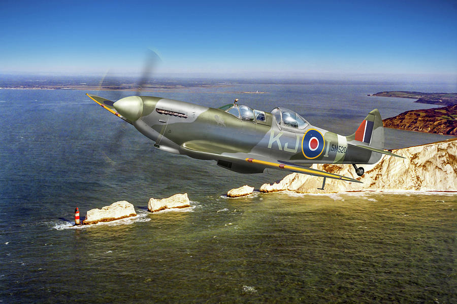 Spitfire Tr 9 over The Needles by Gary Eason