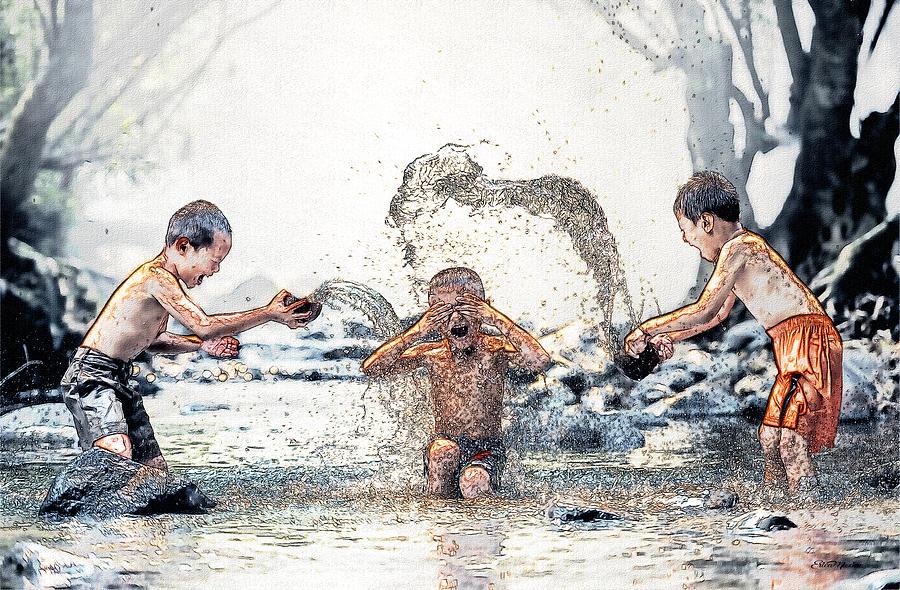 SPLASH - Children at Play - Sketch by Ericamaxine Price