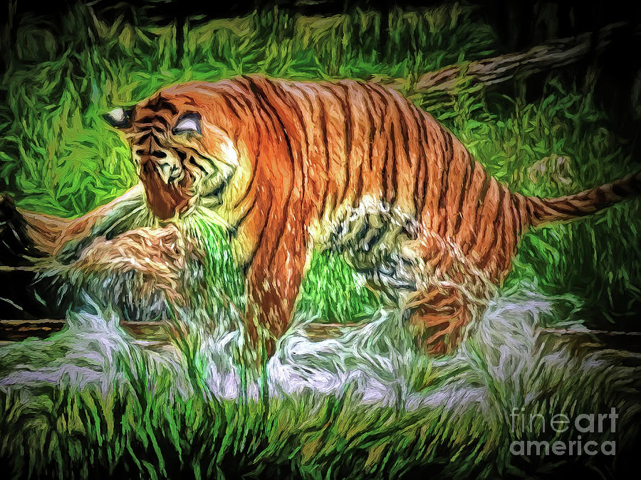 Tiger Photograph - Splashing Out by Leigh Kemp