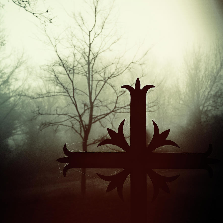 Spooky Cross On A Foggy Morning _ Square Photograph by Tempura