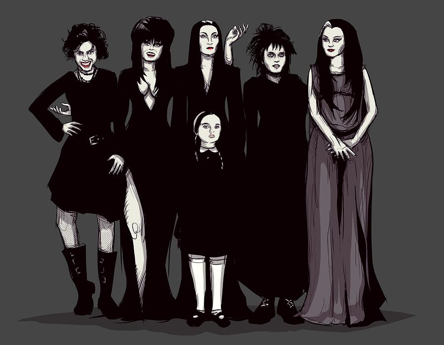 Craft Drawing - Spooky Girls by Ludwig Van Bacon