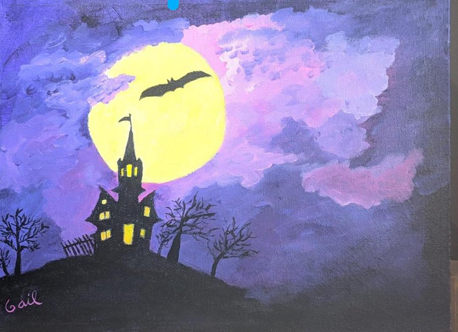 Spooky Halloween scene by Gail Friedman