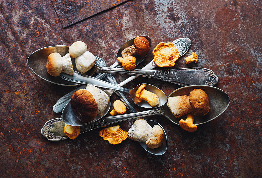 Food Photograph - Spoons&wild Mushrooms by Aleksandrova Karina