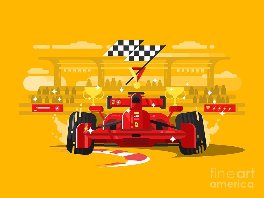 Motor Digital Art - Sport Car In Race by Kit8.net