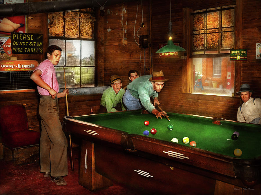 Sport - Pool - Please do not sit on pool tables 1940 by Mike Savad