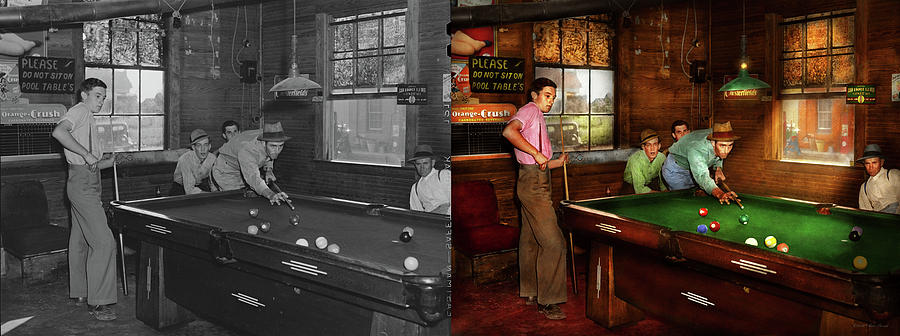 Sport - Pool - Please do not sit on pool tables 1940 - Side by Side by Mike Savad