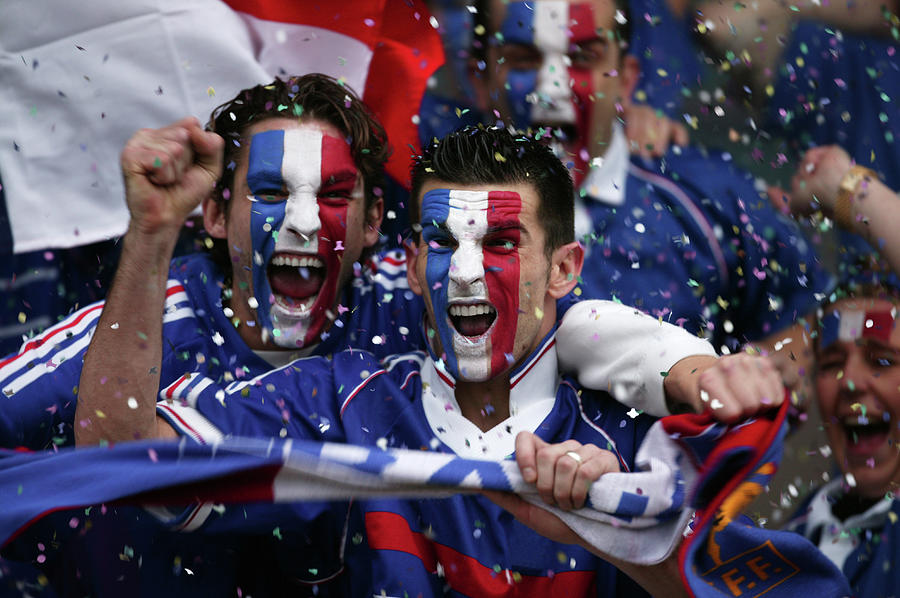 Sports Fans With French Flags Painted Photograph by Photo And Co