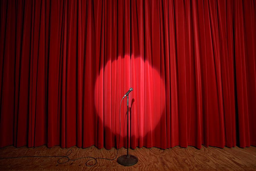 Spotlight On Microphone Stand On Stage Photograph by Adam Taylor