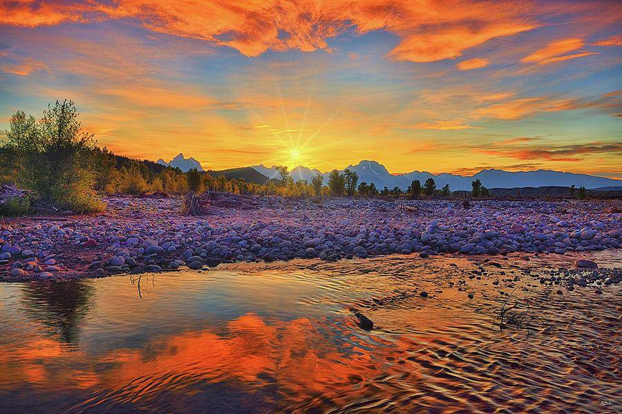 Spread Creek Autumn Sunset Reflections by Greg Norrell