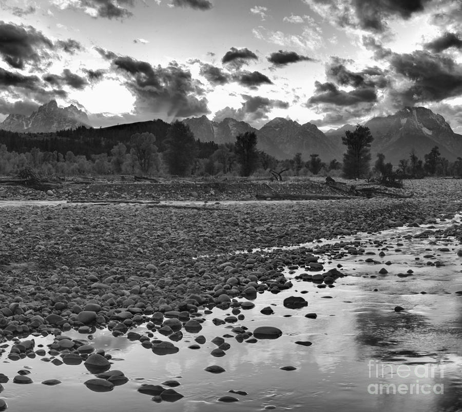 Spread Creek Fire On The Tetons Black And White by Adam Jewell