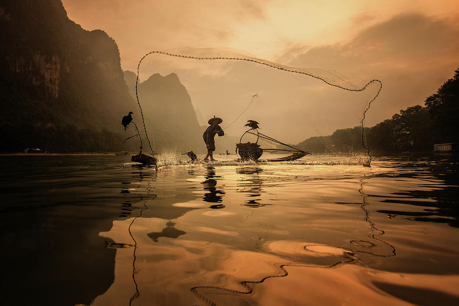 Net Photograph - Spread The Fish Nets by Gunarto Song