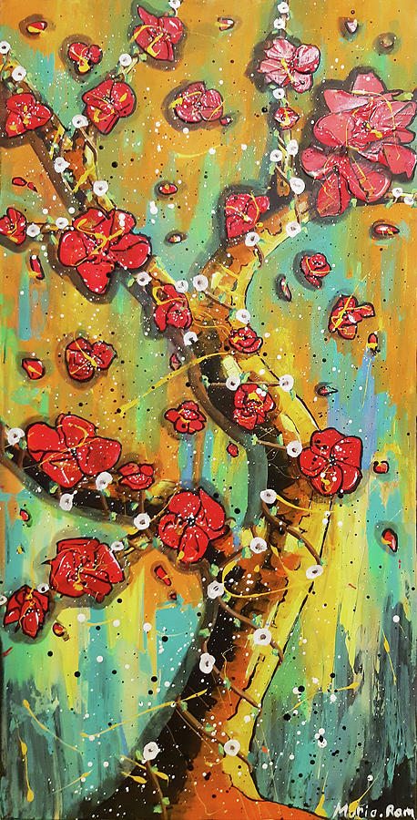SPRING ABSTRACT FLOWERS by MARIA ROM