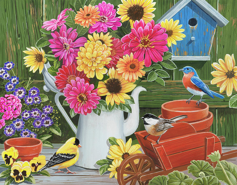 Flowers Painting - Spring Bouquet With Birds by William Vanderdasson