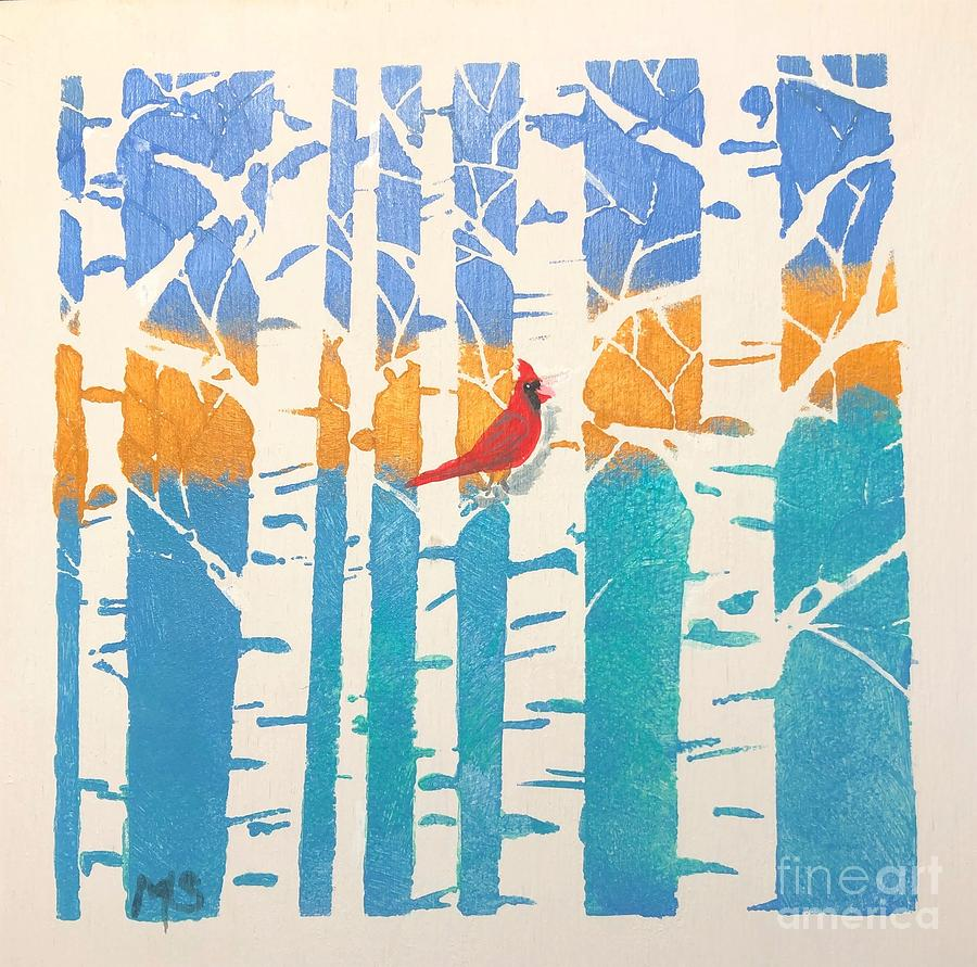 Spring Cardinal in middle birch tree by Monika Shepherdson
