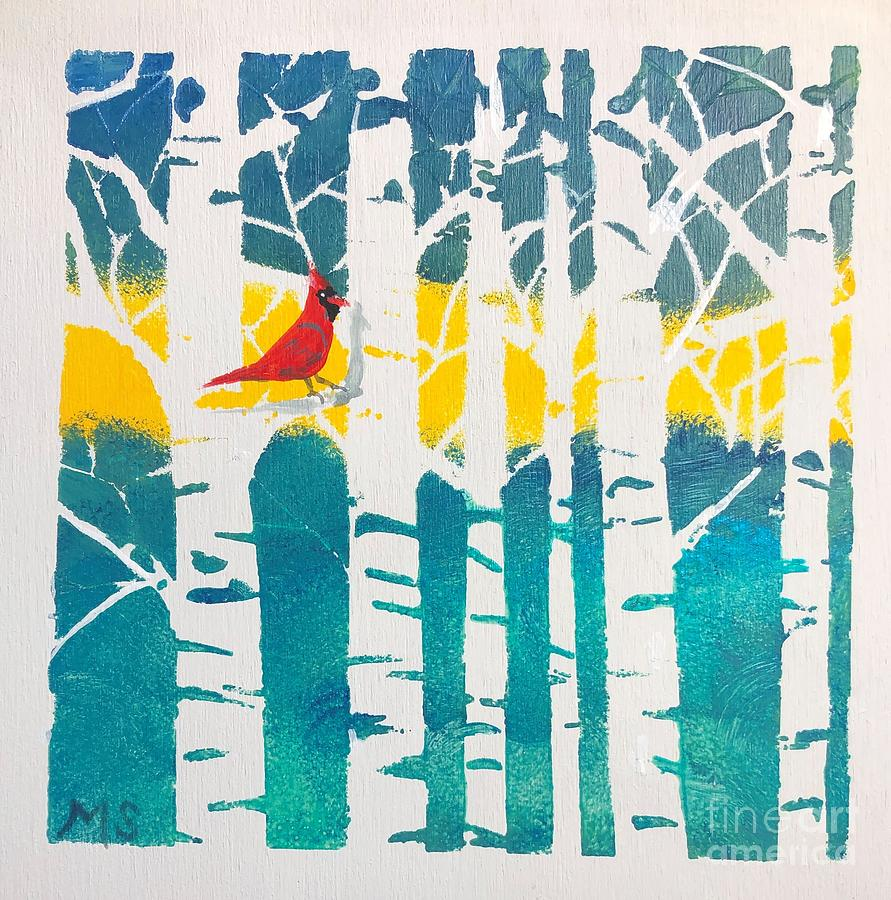 Spring Cardinal with Birch Trees by Monika Shepherdson