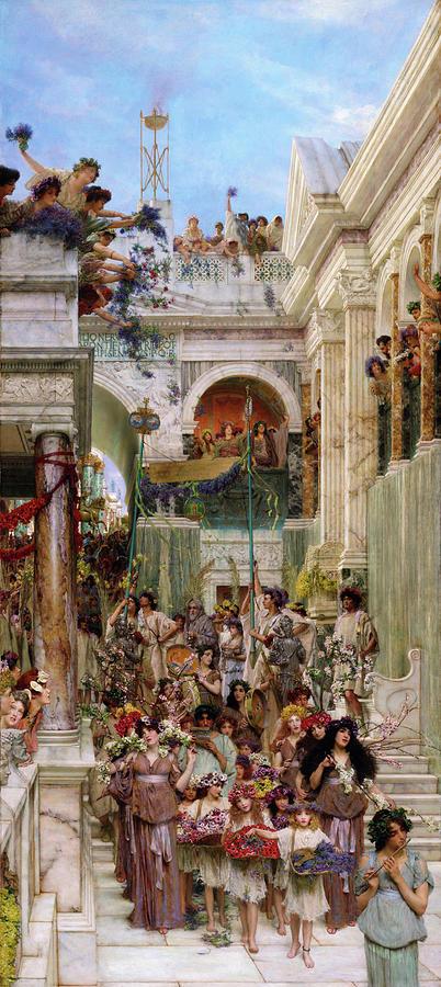 Lawrence Alma-tadema Painting - Spring - Digital Remastered Edition by Lawrence Alma-Tadema