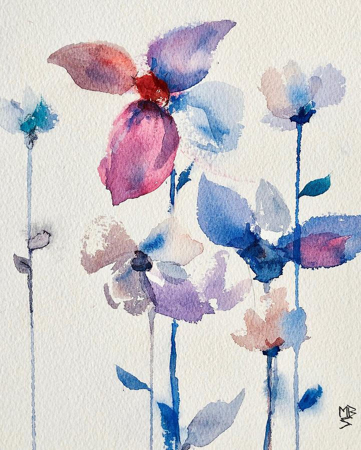 Spring Flowers Blue by Mary Schiros