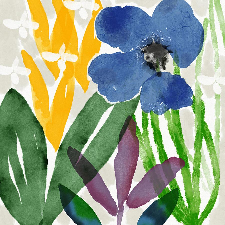 Spring Garden Blue- Floral Art by Linda Woods by Linda Woods