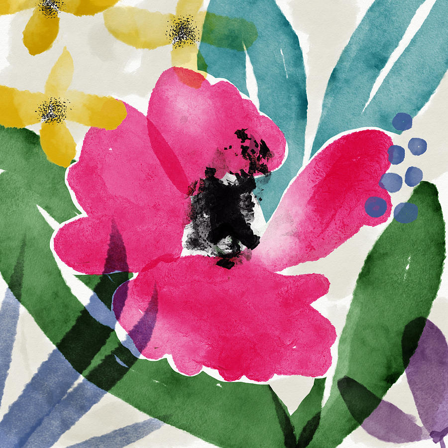 Spring Garden Pink- Floral Art by Linda Woods by Linda Woods