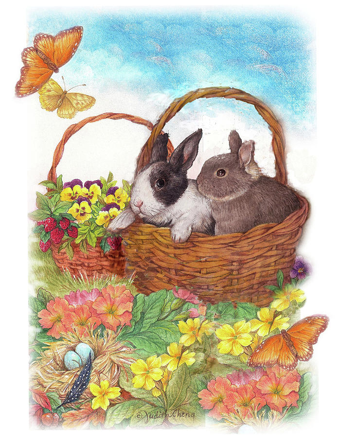 Spring Garden with Bunnies, Butterfly by Judith Cheng