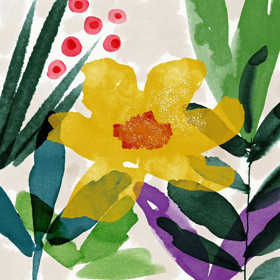 Garden Mixed Media - Spring Garden Yellow- Floral Art By Linda Woods by Linda Woods