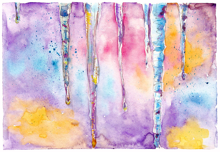 Spring Icicle Abstract Watercolor Background