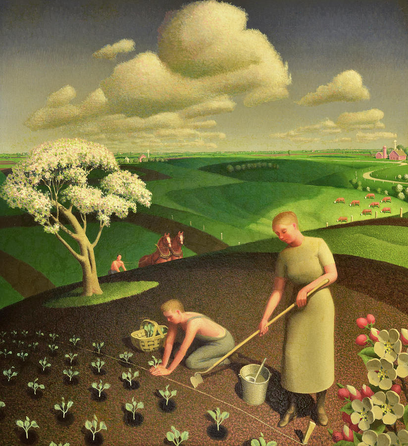 Grant Wood Painting - Spring in the Country, 1941 by Grant Wood