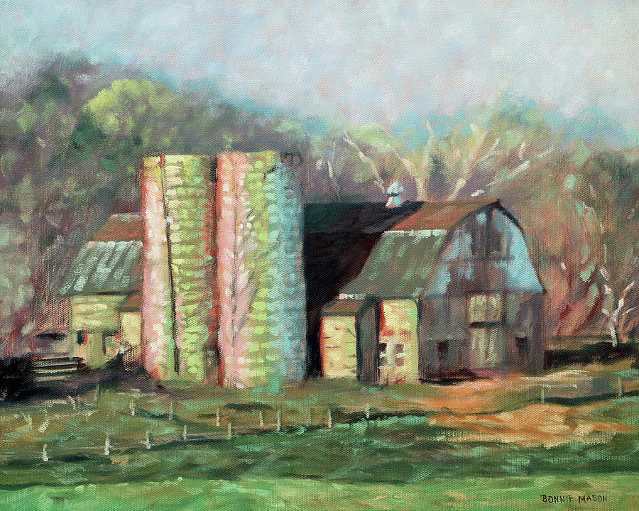 Spring Painting - Spring On The Farm - Old Barn With Two Silos by Bonnie Mason