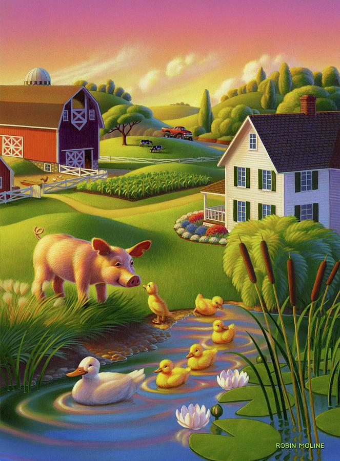Springtime Painting - Spring Pig by Robin Moline