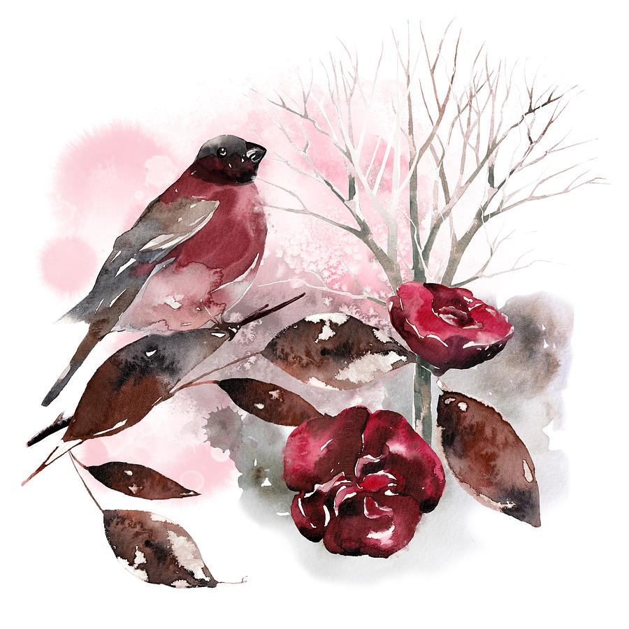 Bird Painting - Spring Rests In The Heart Of Winter by Little Bunny Sunshine
