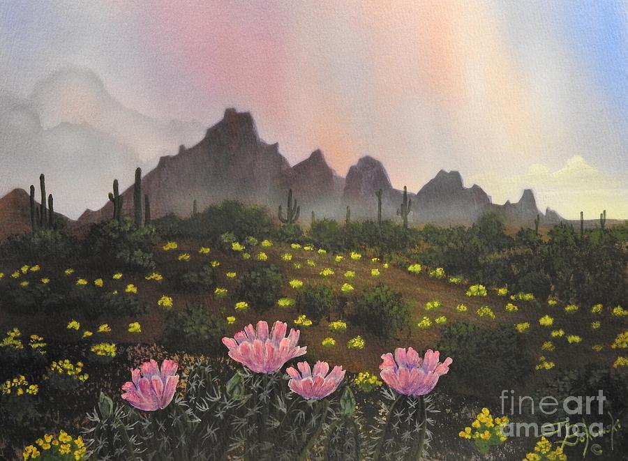 Hedgehog Cactus Painting -  Spring Solitude by Jerry Bokowski