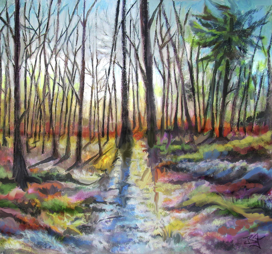 Spring Thaw Forest Sunrise by Jean Batzell Fitzgerald