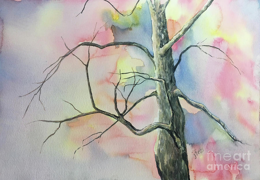 Tree Painting - Tree Looking at Spring by Janet Felts