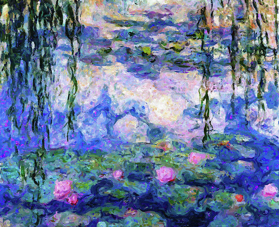 Spring Water Lilies After Monet Abstract Realism by Georgiana Romanovna