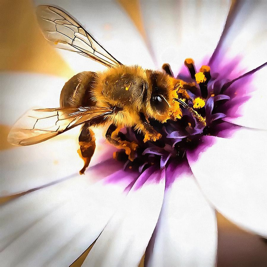 Springtime Honeybee On White African Daisy by Taiche Acrylic Art